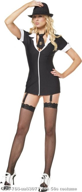 Gangster Girl Garter Dress Adult Costume