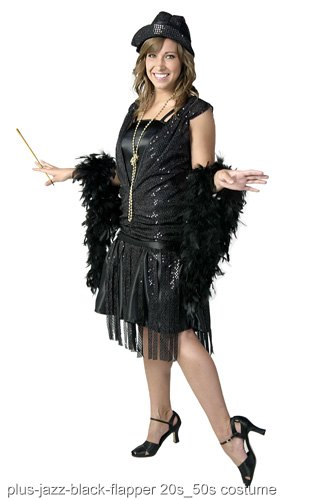 Plus Size Black Jazz Flapper Costume