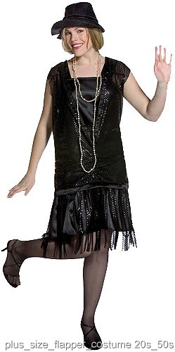 Black Plus Size Gatsby Flapper Dress