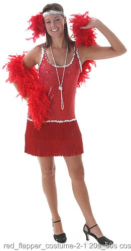 Sequin and Fringe Red Plus Size Flapper