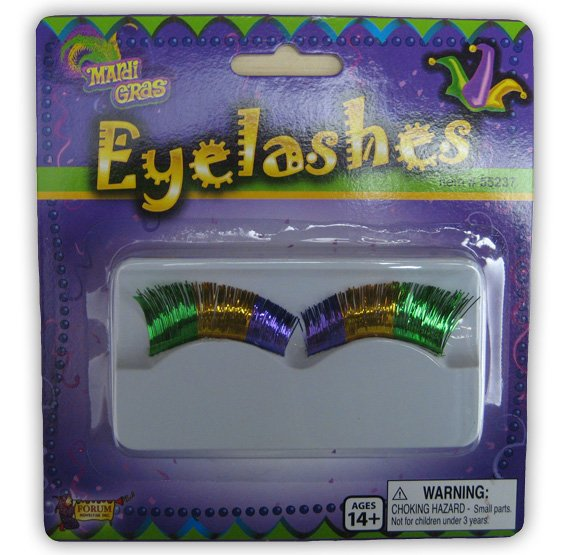 Mardi Gras Tri-Color Eyelashes