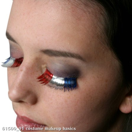Red, White, and Blue Party Eyelashes with Case - Click Image to Close