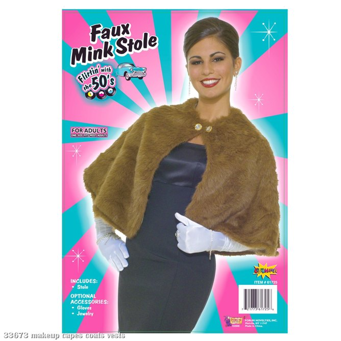 Faux Mink Stole Adult Costume