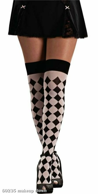 Harlequin Black & Whited Thigh Highs Adult
