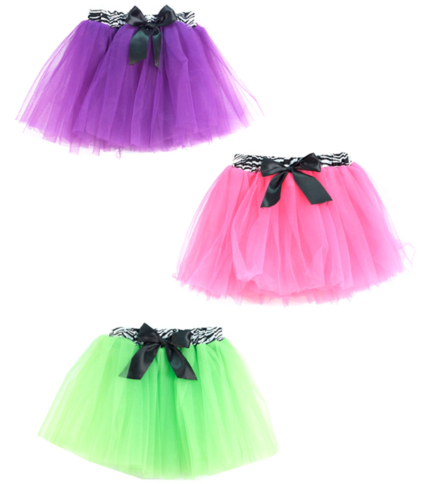 Neon Tutu with Zebra Print Waist Child