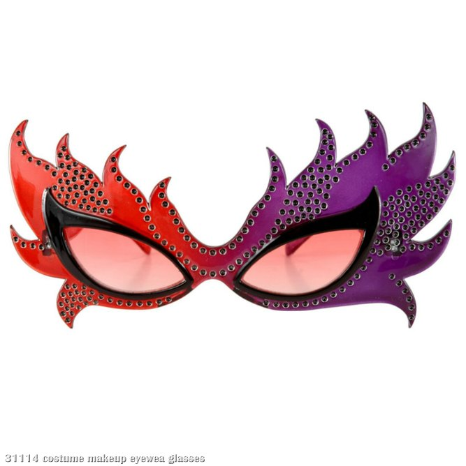 Feather Mask Glasses (Red/Purple)