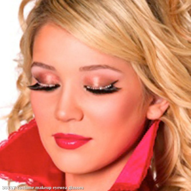 Eyelashes with White Crystals