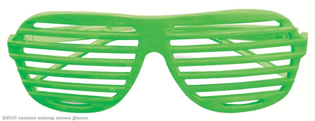 80's Neon Green Slot Adult Glasses