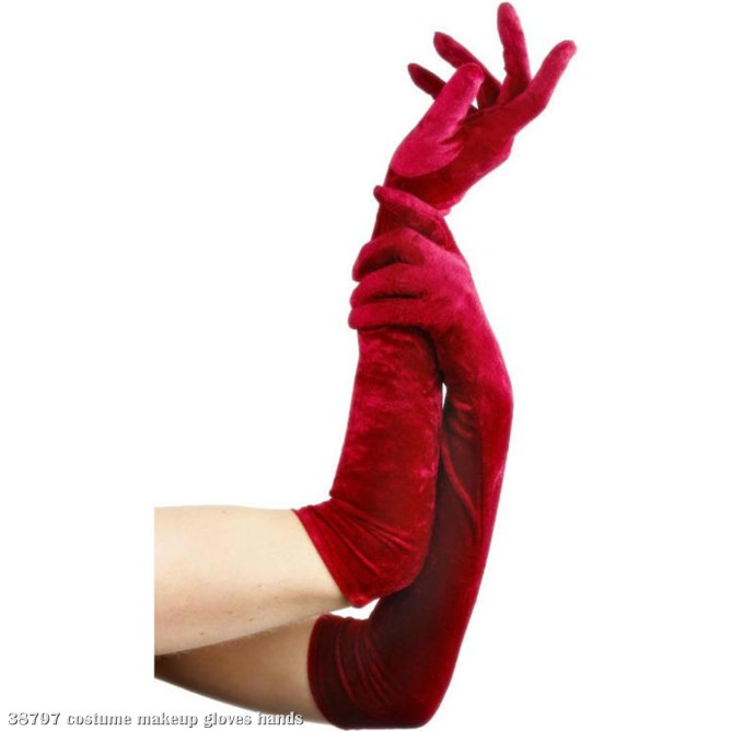 Long Velveteen Red Gloves Adult