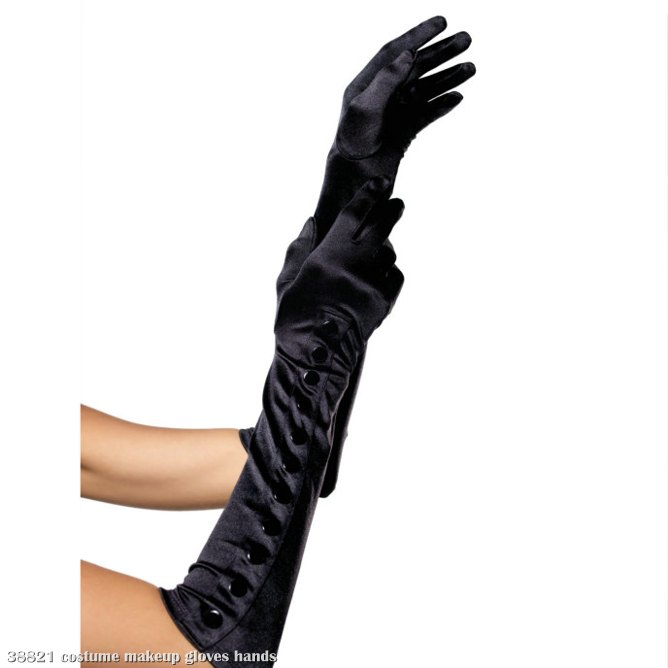 Opera Length Satin Glove with Snap Button Side