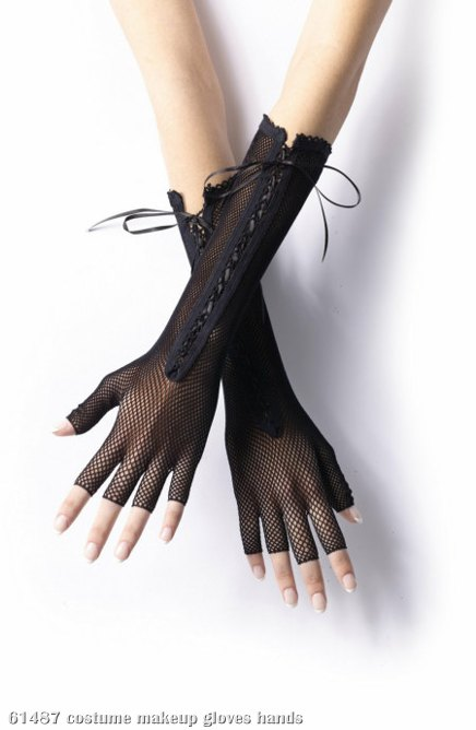 Fishnet Long Fingerless Adult Gloves - Click Image to Close