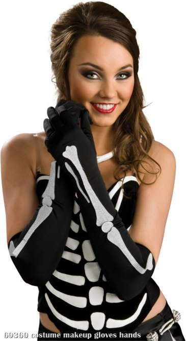 Long Black Gloves With Bone Design Adult
