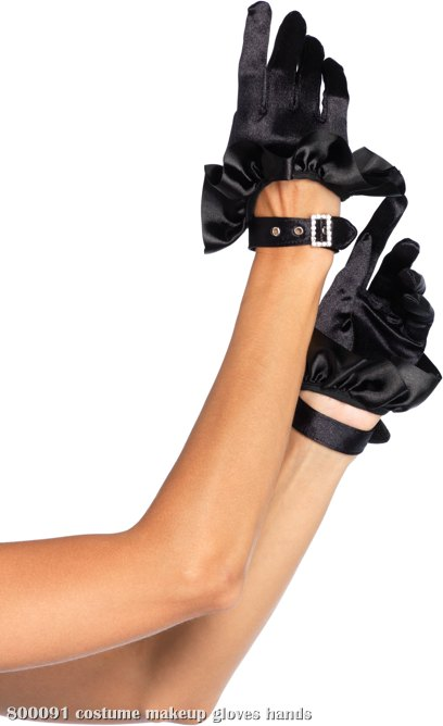 Cropped Satin Ruffle Glove With Faux Rhinestone Buckle (Adult)