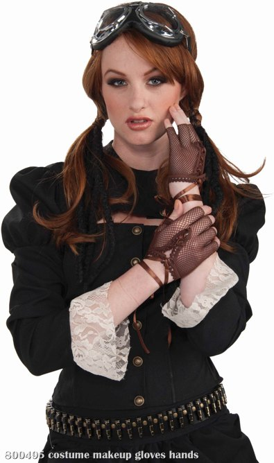 Steampunk Brown Lace Gloves Adult