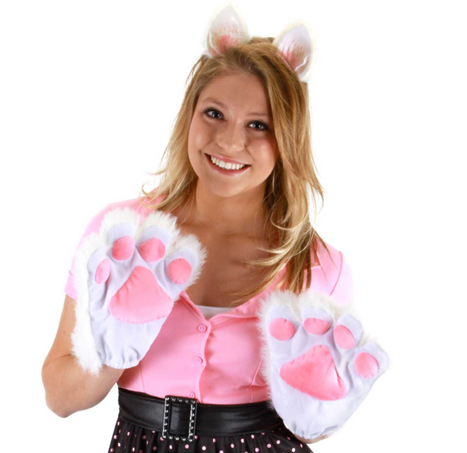 Kitty Paws (White) Adult Gloves