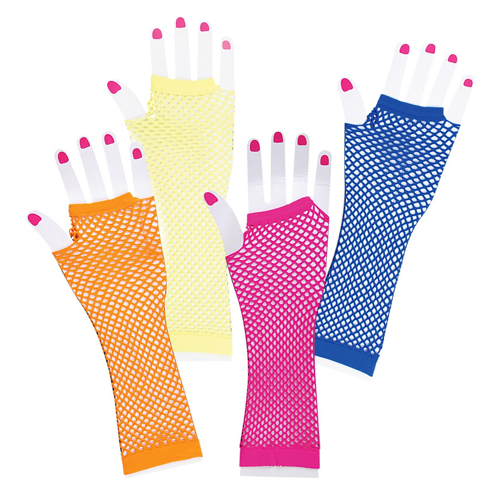 Long Fishnet Neon Gloves Child