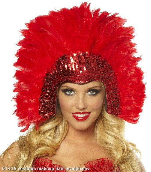Red Vegas Showgirl Headpiece Adult