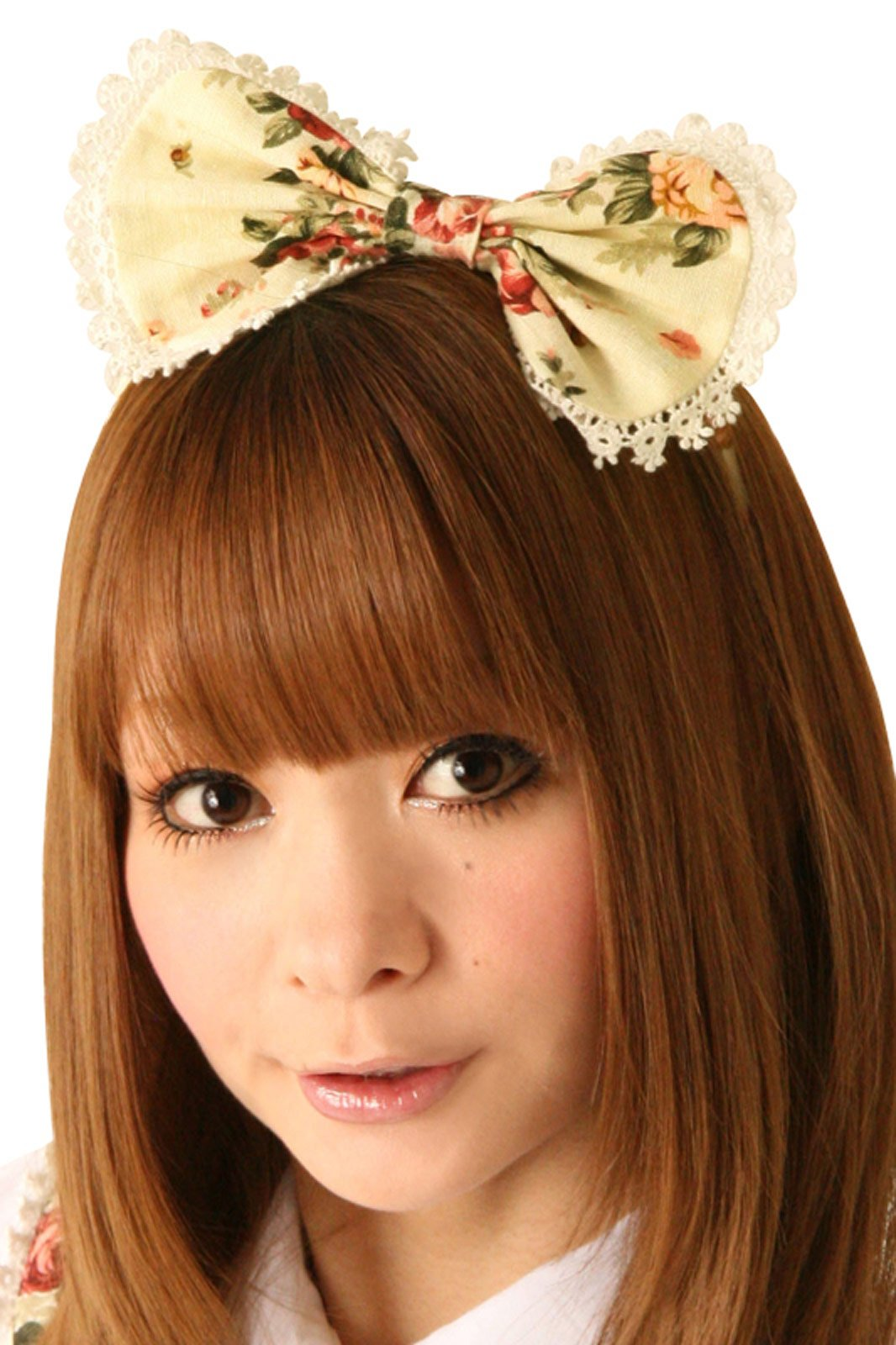 Cream Doll White Broom Hair Bow Headpiece