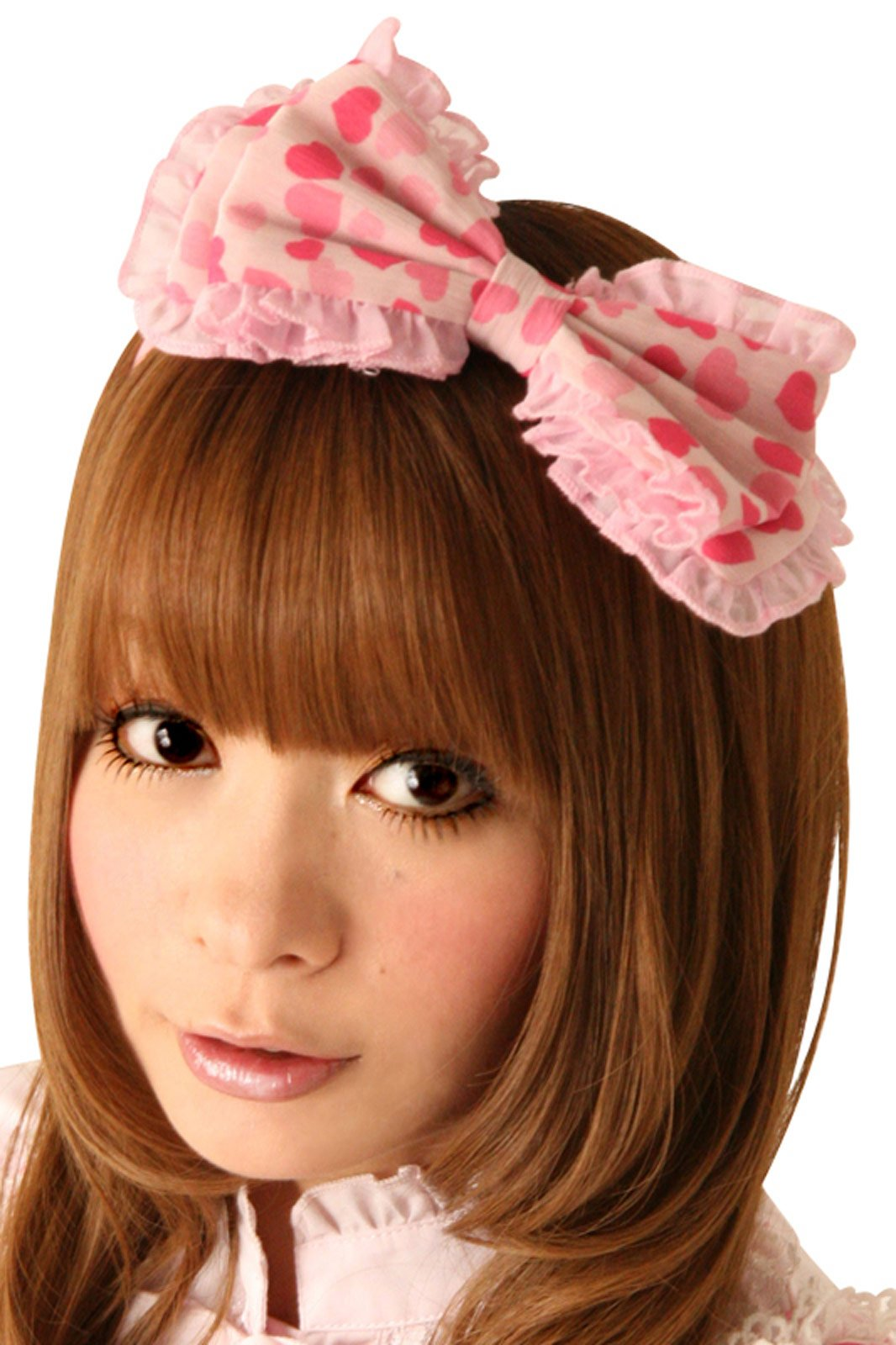Cream Doll Heart Taffy Hair Bow Headpiece