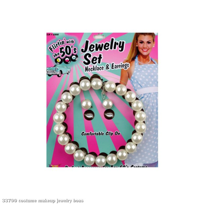 50's Pearl Necklace and Earrings Set