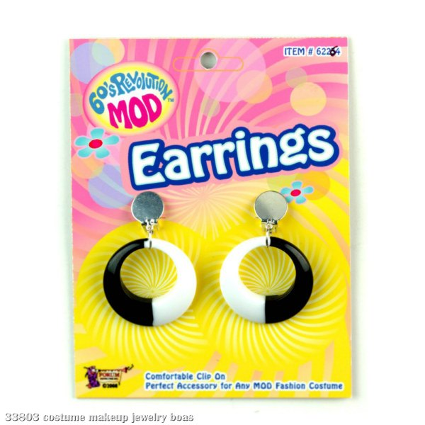 Mod Black and White Hoop Earrings