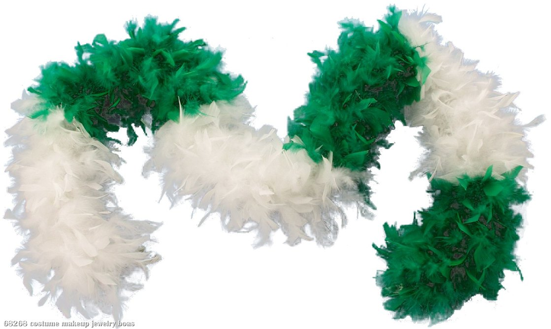 Green & White Turkey Feather Boa Adult