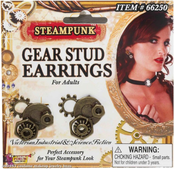 Steampunk Gear Stud Earrings Adult