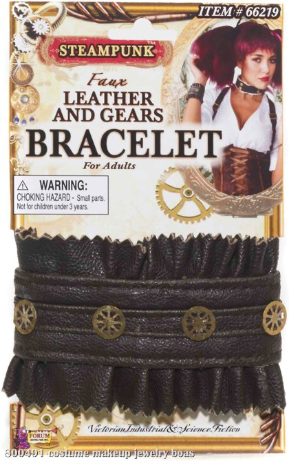 Steampunk Leather & Gear Bracelet Adult