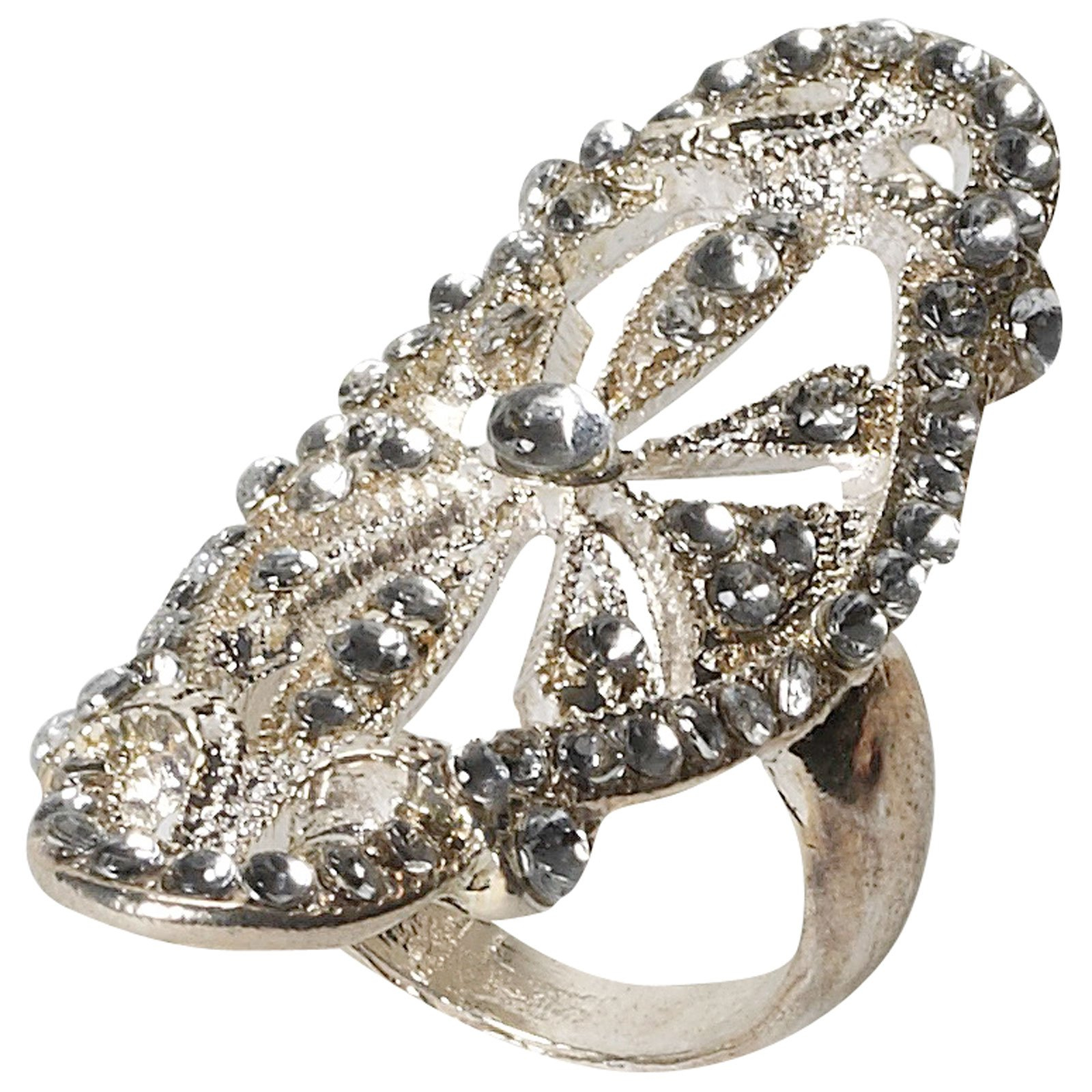 Vintage Hollywood Rhinestone Encrusted Adult Ring