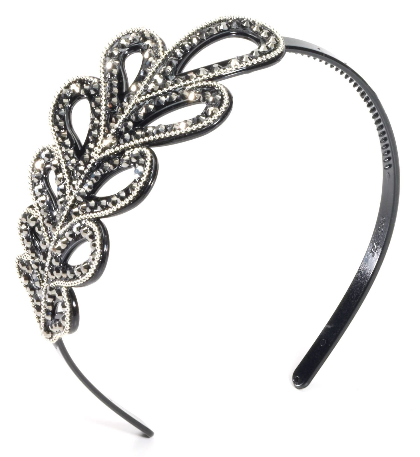 Vintage Hollywood Headband with Leaf Rhinestone Design