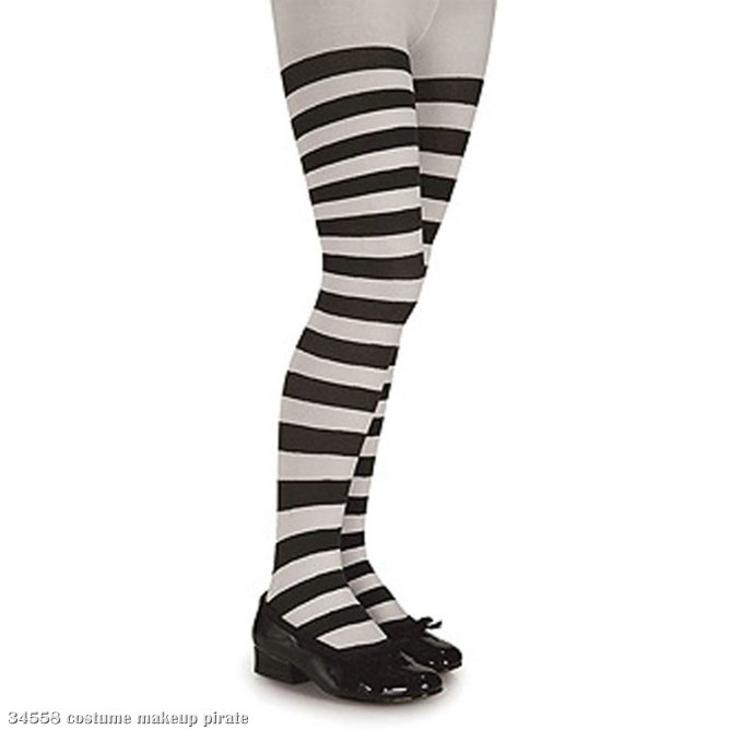 Black and White Striped Tights - Child