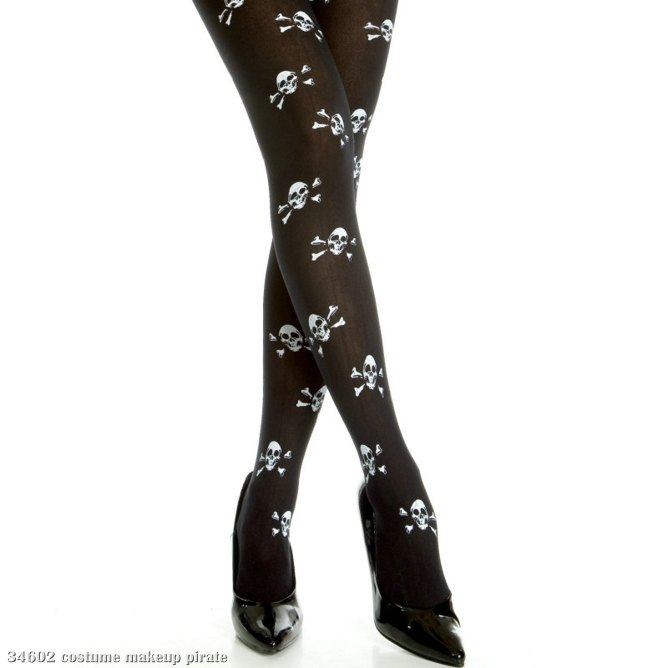 Cross Bone Print Opaque Tights - Adult Black/White