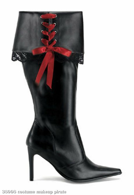 Sexy Pirate (Black) Adult Boots - Wide Width