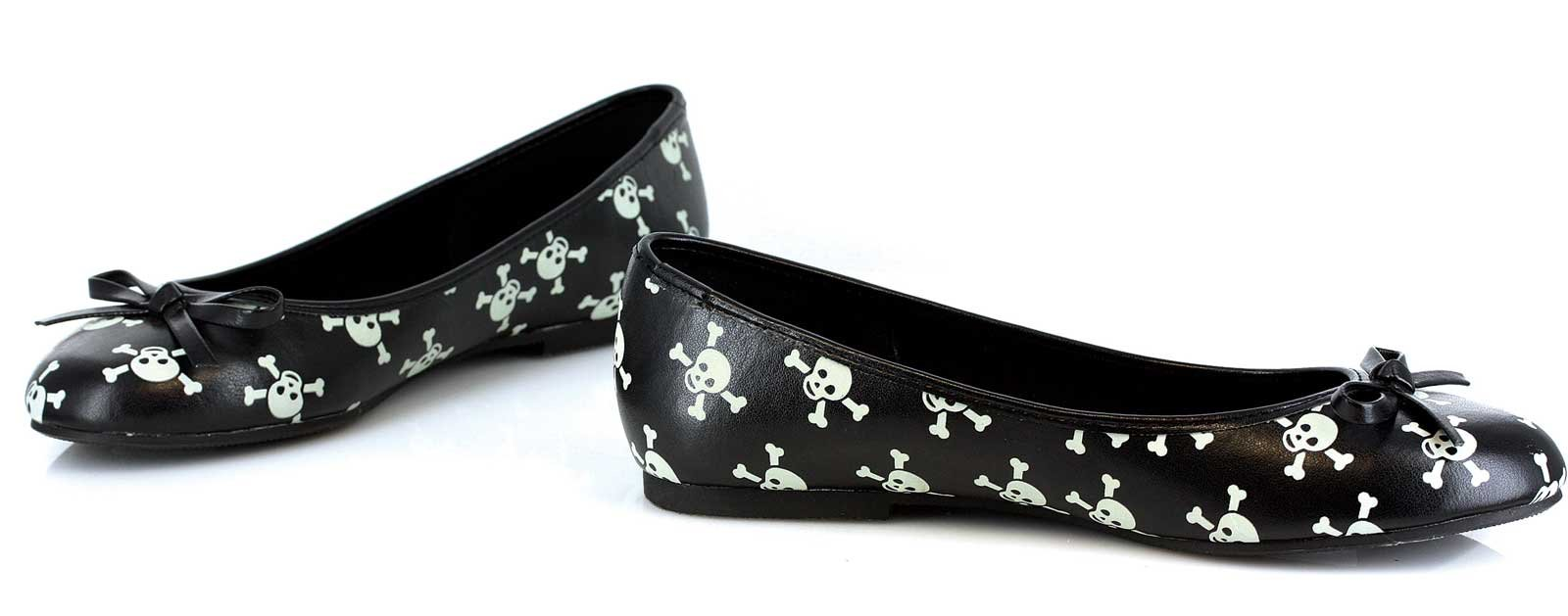 Glow in the Dark Skull Adult Ballet Flats