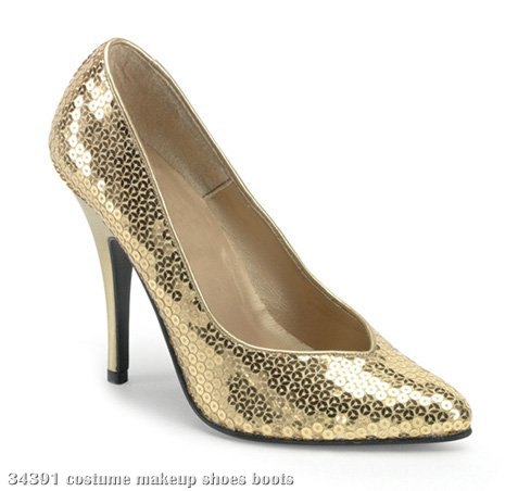 Gold Sequin High heel Adult Shoes