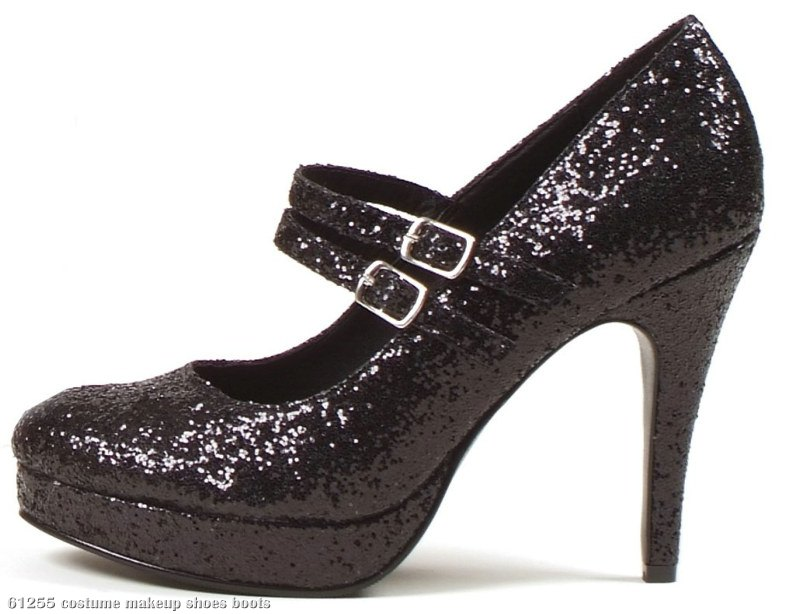 Black Glitter Jane Adult Shoes