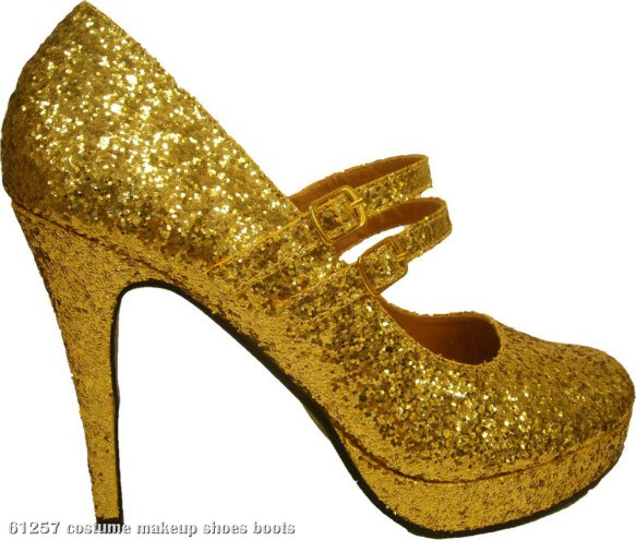 Gold Glitter Jane Adult Shoes
