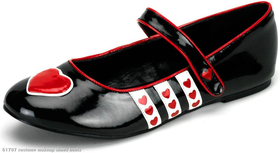 Queen of Hearts (Black) Patent Flat Adult Shoes