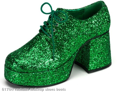Green Glitter Platform Adult Shoes