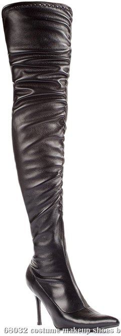 Lala Ruched Thigh High Boots (Black) Adult