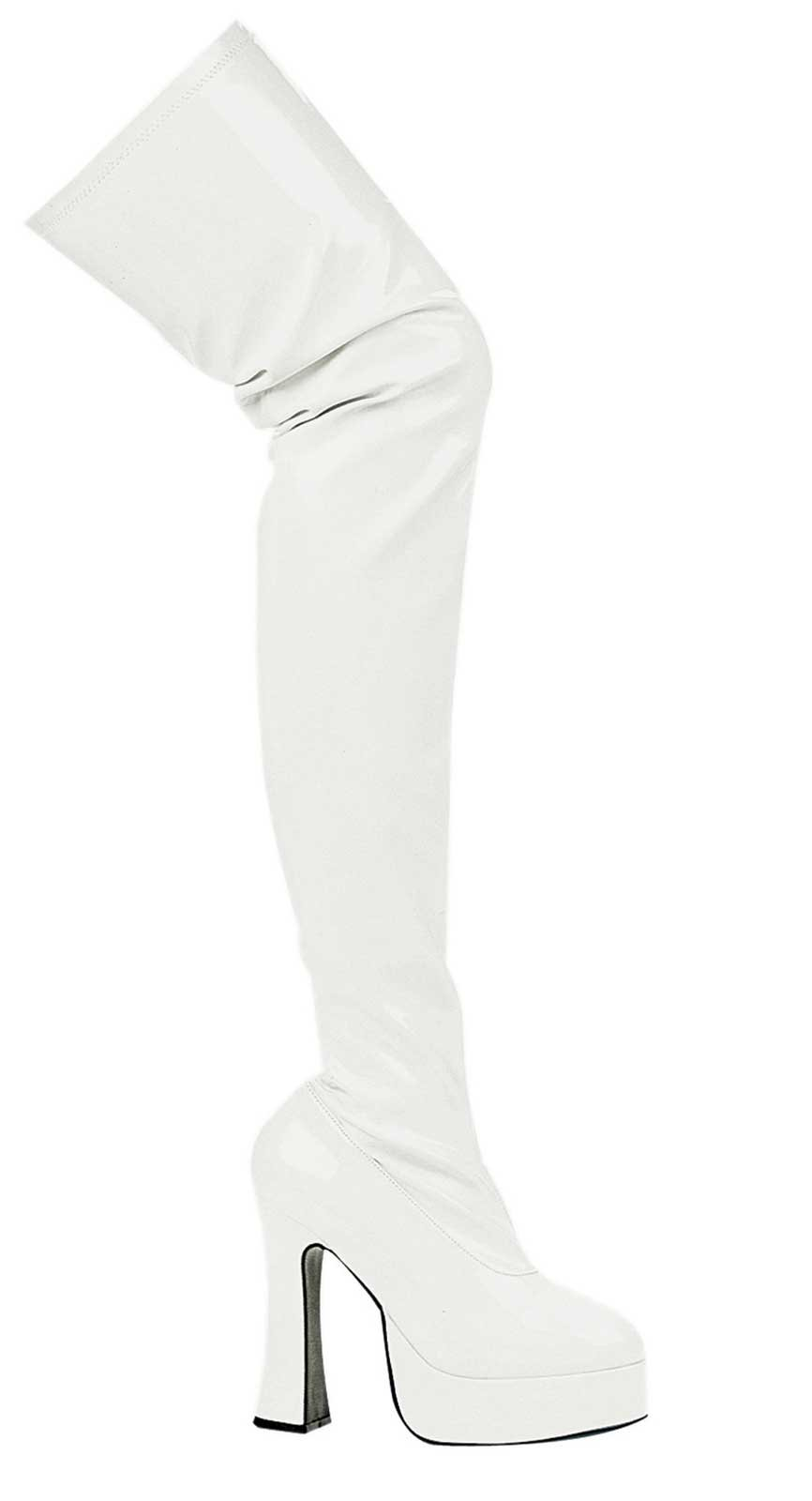 Thrill White Patent Thigh High Adult Boots