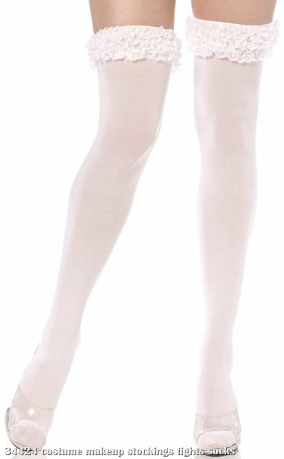 Opaque White Thigh Highs with Lace Ruffles