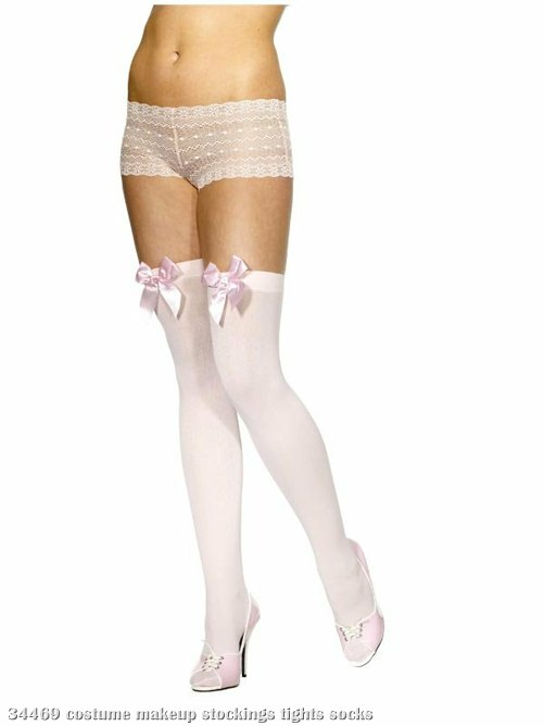 Pink Thigh-High Stockings with Bow Adult