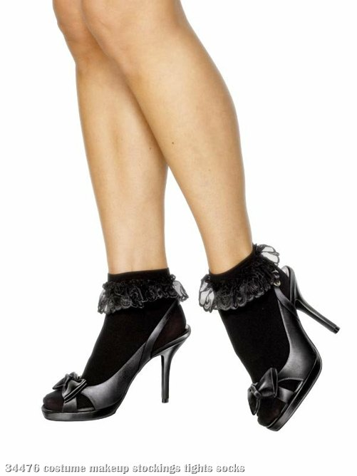 Black Ruffle Lace Trim Socks - Adult