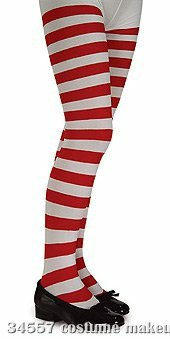 Red and White Striped Tights - Child