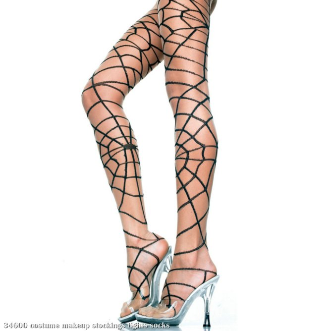 Spider Web Pantyhose - Adult Black