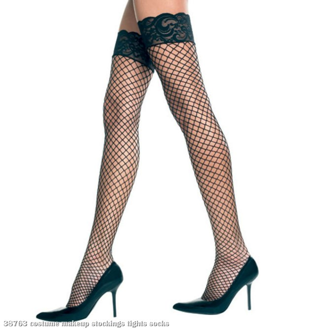 Diamond Net Lycra Thigh High with Lace Top (White) Adult