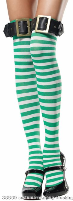 Green and White Striped Thigh Highs Adult w/ Buckle