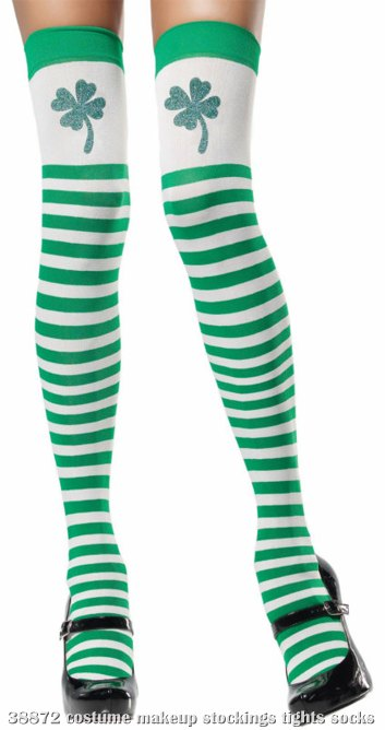 Clover Top Green and White Thigh Highs Adult