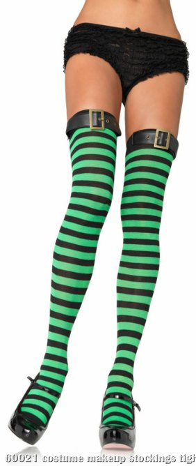 Striped Thigh Highs with belt Green/Black